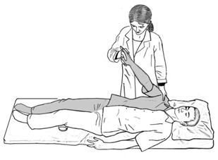 Пассивный подъем руки и поворот ее кнаружи в положении пациента лежа на спине